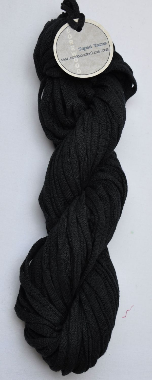 Black Chunky Tape yarn for knitting weaving and embellishing